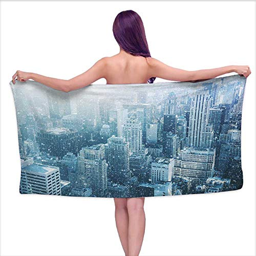 Bensonsve White Bath Towels Winter,Snow in New York City Image Skyline with Urban Skyscrapers in Manhattan United States,W10 xL39 for bathrooms, Beaches, Parties