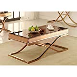 Furniture of America Dorelle Contemporary Glass Top Coffee Table, Brass