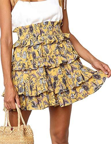 - Relipop Women's Pleated Skirts Floral Print High Elastic Waist Layered Ruffle Skater Skirt