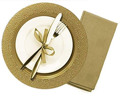 Wedding Tiger Chef 6-Pack 13 inch Gold Diamond Plastic Charger Plates Disposable Set of 2 6 and Special Events 12 or 24 for Parties 4