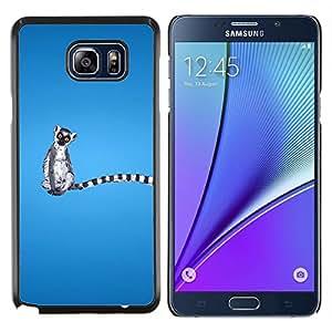 EJOOY---Cubierta de la caja de protección para la piel dura ** Samsung Galaxy Note 5 5th N9200 ** --Long Tail Animal Gris Blanco Lemur atado anillo Selva