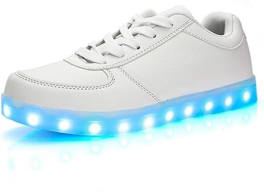 DoGeek Zapatos Led Negras Blanco 7 Color USB Carga LED Zapatillas Luces Luminosos Zapatillas Led Deportivos para Hombres Mujeres (Elegir 1 tamaño más Grande): Amazon.es: Zapatos y complementos