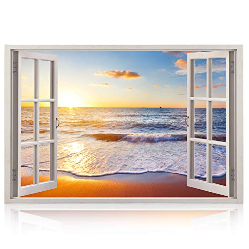 Realistic Window Wall Decal – Peel and Stick Nautical Decor for Living Room, Bedroom, Office, Playroom – Beach Wall Murals Removable Window Frame Style Ocean Wall Art – Vinyl Poster Wall Stickers -