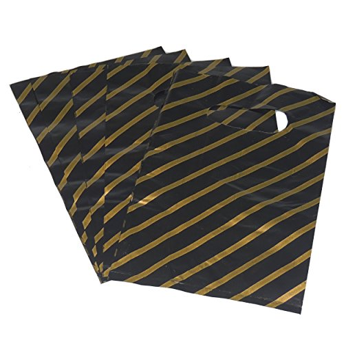100 x Extra Small Black and Gold Striped Jewellery Gift Shop Boutique Plastic Carrier Bags 4