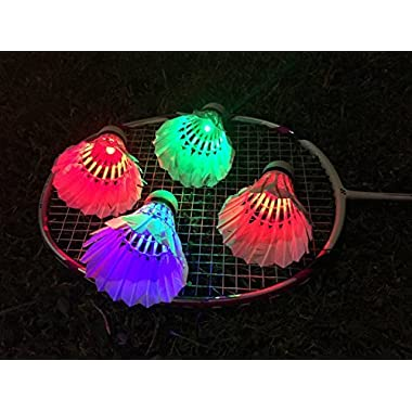 Ohuhu® LED Badminton Shuttlecock Dark Night Glow Birdies Lighting For Outdoor & Indoor Sports Activities, 4-piece