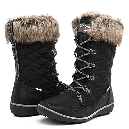 GLOBALWIN Women's 1731 Winter Waterproof Snow Boots (8.5 D(M) US Women's, 1731Black)