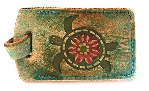 Sea Life Sea Turtle Leather Luggage Tag in Boho Style with Name Plate Bag Tag Gift for Men Women Ocean Beach Lover