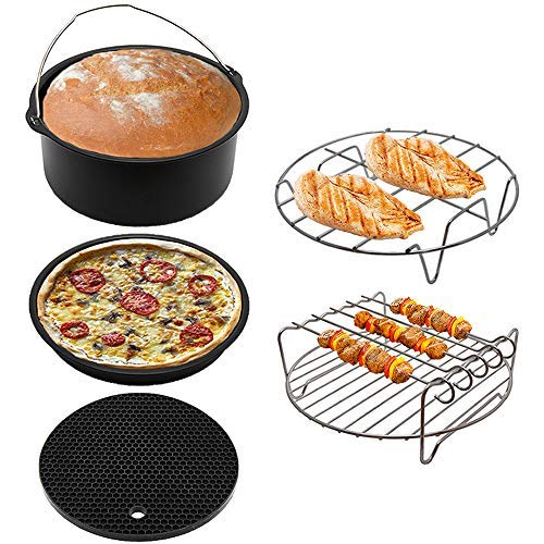 Extra Large 8 Inch Universal Air Fryer Accessories for 5.3, 5.5, 5.8 QT and up XL Air Fryer, Includes Pizza Pan, Cake Pot, Silicone Mat, Metal Holder Rack and Skewer Rack by The Modern Home