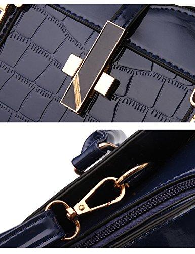 tracolla Blu borsa nuove a Tote lucida Vino Rosso signore Bag PU CUKKE Leather 7FRzpqcOB