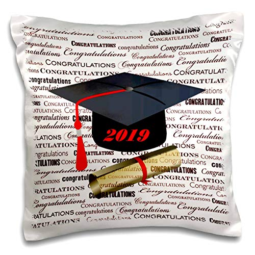 Graduation Pillow Personalized - 3dRose Lens Art by Florene - Graduation - Image of Words of Congratulation Black Cap Red Tassel - 16x16 inch Pillow Case (pc_306833_1)