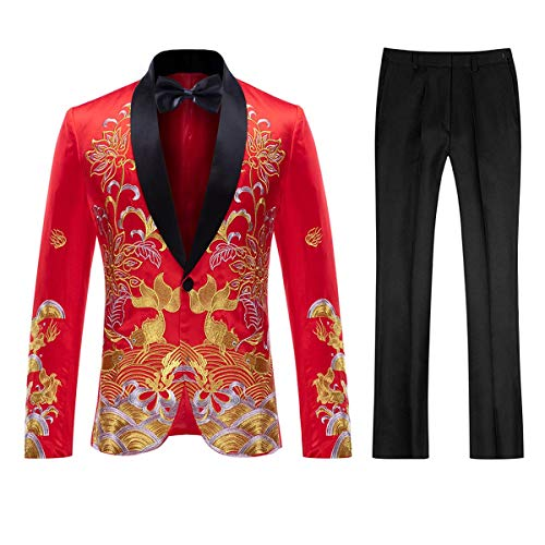 Mens Floral Sequin Embroidered Dress 2 Piece Suit Slim Fit Blazer Jacket & Pant