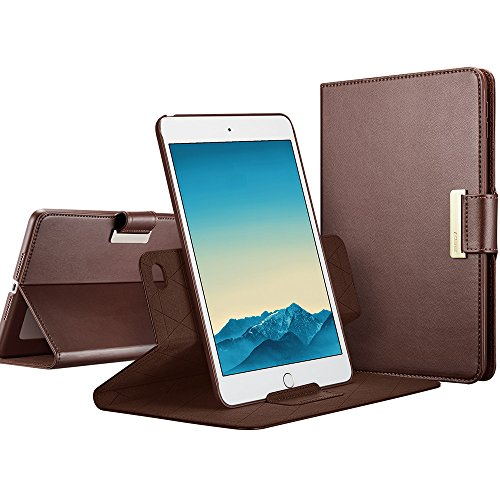 ESR iPad mini 4 Case, 360 Degree Rotating Folio Stand Case with Auto Wake/Sleep Function [Buckle for Secure Closure][Business Style Case] for Apple iPad mini 4 2015_Brown by ESR