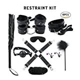 Zlimio 10 Pcs Bed Restraints Kit,Cosplay Sexy Adult Couple Sex Toy, Bondage Restraint Kits,with Adjustable Leather Handcuffs Black