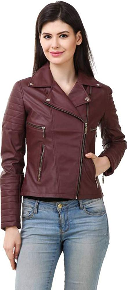 Burgundy Trailblazerzz Womens Leather Jackets Motorcycle