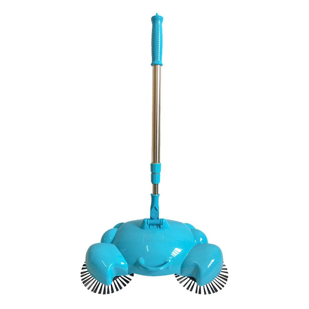 Manual Sweeping Machine, Inkach 360 Rotary Home Floor Dust Hair Sweeper Hand Push Automatic Magic Brooms (Blue)