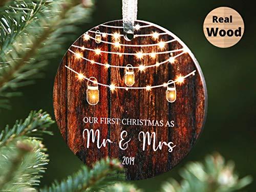 First Christmas Wedding Ornament 2019 First christmas as Mr and Mrs Christmas Married Ornament Barnwood Brown (Wedding Christmas Rustic)
