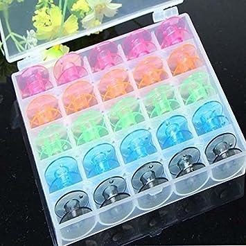 N/ähmaschinenspulen in transparenter Spulenbox 25 leere Spulen in verschiedenen Farben f/ür die N/ähmaschine