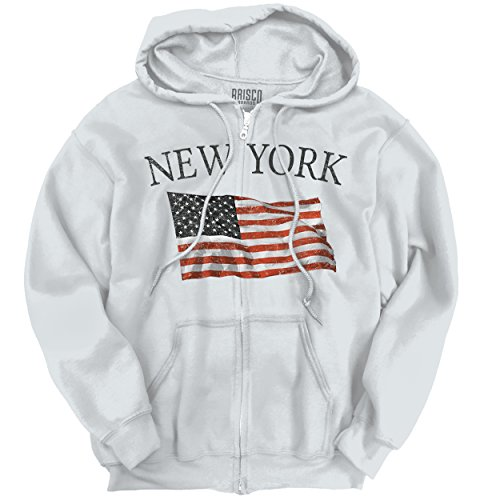 (New York Patriotic Home State American USA T Shirt Flag Gift Zipper Hoodie)