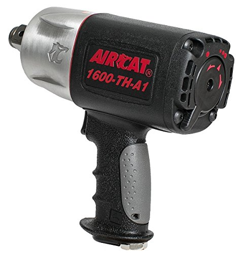AIRCAT 1600-TH-A1 1'' Composite Pistol Style Air Impact Wrench, Medium, Black & Grey by AirCat