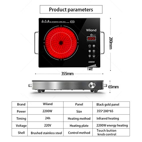 Portable Induction Cooktop Countertop Burner, 2200-Watt 120-Volts Smart Touch Sensor Countertop Induction Range Cooker, Stainless Steel Cookware with Temperature Control by Wiland (Image #7)