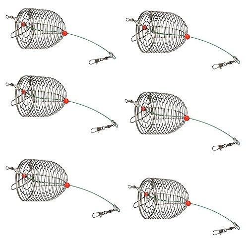 6 PCS Stainless Steel Carp Fishing Bait Trap Cage Feeder Basket Holder Coarse Lure Feeder Carp Fishing Accessories Tackle Kit-Trap Dia:3.5CM/4.0CM/4.6CM (Small-Trap Dia 3.5cm-6PCS)