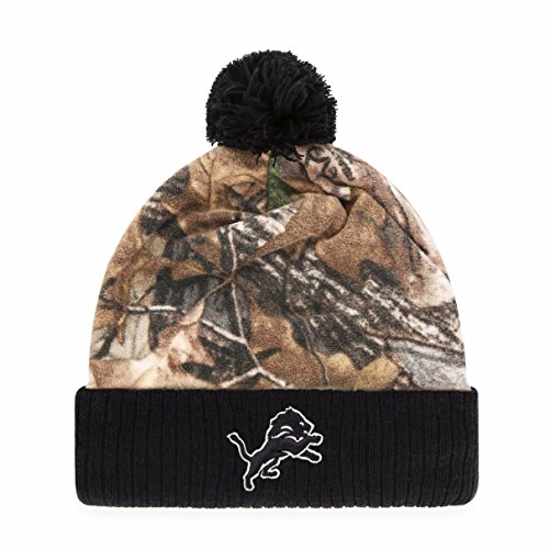 NFL Detroit Lions Greyson OTS Cuff Knit Cap with Pom, One Size, Realtree