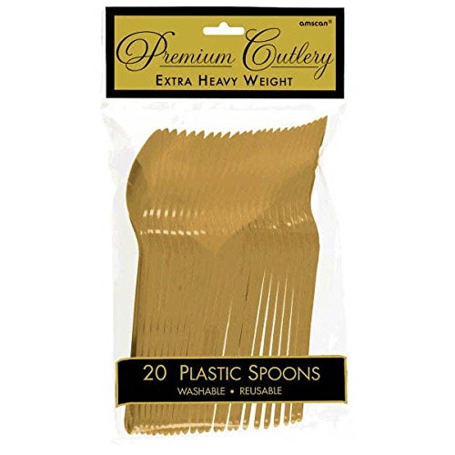 Reusable Party Premium Heavy Weight Plastic Spoons Cutlery, Gold, Pack of 20