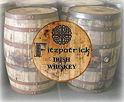 Rustic Home Decor Personalized Whiskey Barrel Lid Irish Celtic Knot Last Name Bar Sign Man Cave