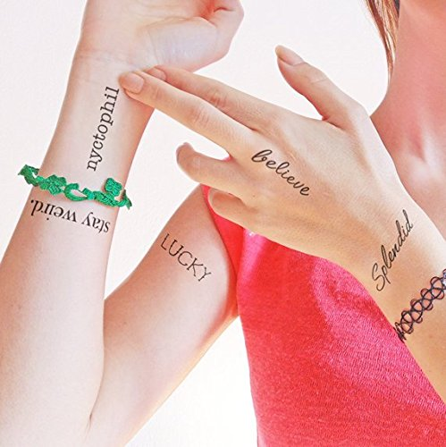 Ensemble de mots - splendid - lucky - stay weird. - believe - nyctophil - Tatouage temporaire (Lot de 2 tatouages)