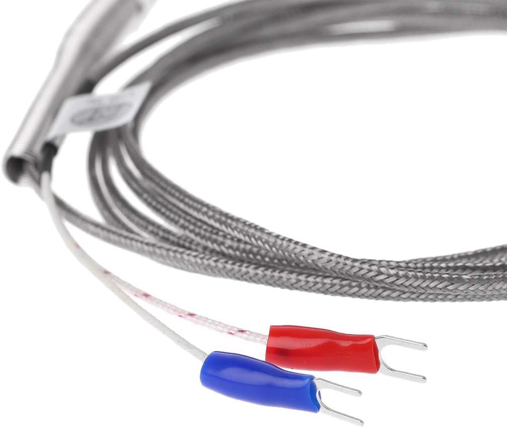 50 mm // 100 mm // 200 mm 2 m Kabel Fadentemperaturf/ühler M8 JunYe Thermoelement Typ K 200mm