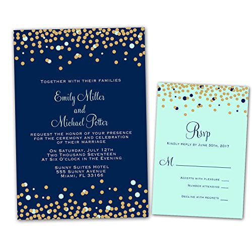 100 Wedding Invitations Navy Blue Mint Green Gold Confetti Design + Envelopes + Response Cards Set