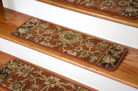Dean Premium Nylon Carpet Stair Tread Rugs   Traditional Antique Spice  30u0026quot; ...