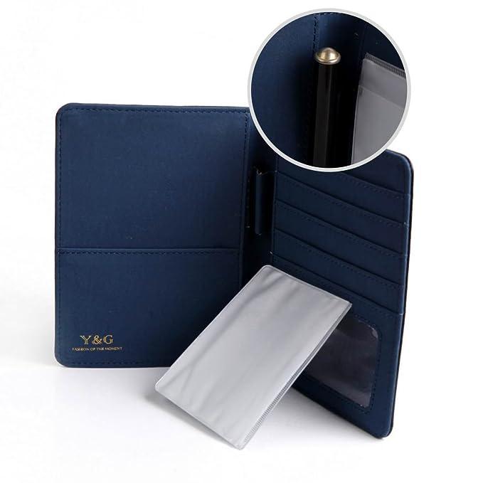 PW1012 Negro Azul Certificado Tienda Classic Formal Wear Cuero titular del pasaporte Regalos Viajes Dšªa de San Valentšªn de la moda por Y&G: Amazon.es: ...