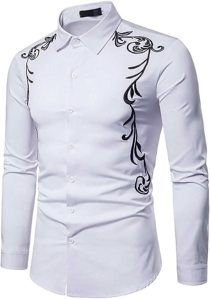 Hombres Bordados Camisa De Manga Larga Casual Slim Fit Western Cowboy Camisa De Vestir Retro Prendas De Abrigo Top
