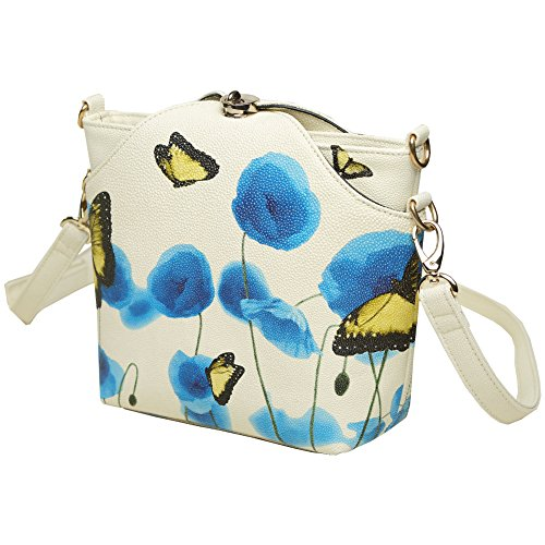 blue simple flower white blue bag casual PU and bag leather shoulder Messenger women's flower Yuanse® fashion New white lady's Y019 handbag awTUxnIH