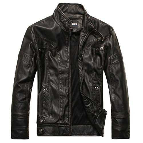 Susanny Men's Fashion Vintage Stand Collar PU Leather Motorcycle Jacket Coat L Black