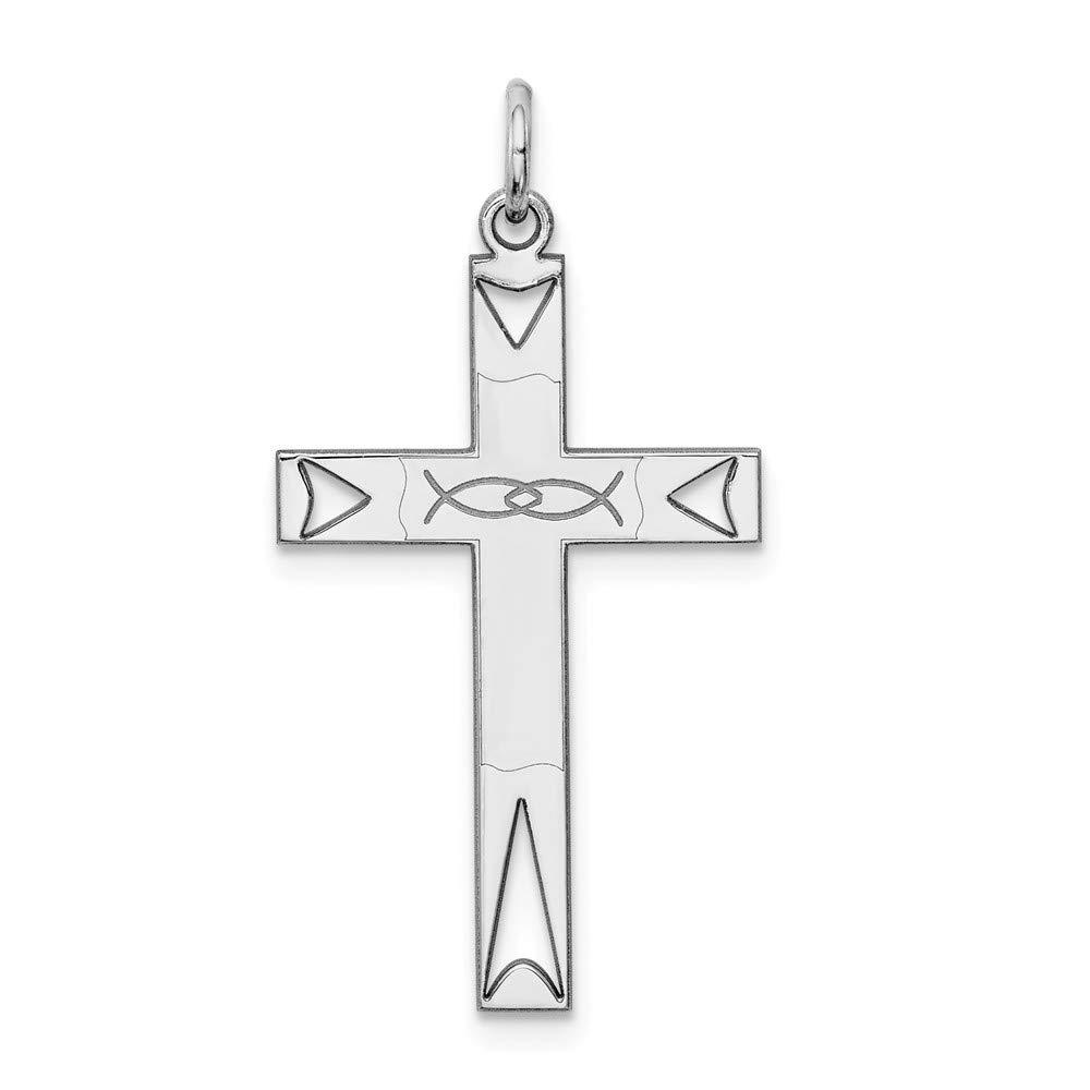 16mm x 31mm Jewel Tie 925 Sterling Silver Laser Designed Cross Pendant