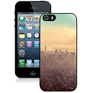 NEW Unique Custom Designed iPhone 5S Phone Case With New York City Sunrise Haze_Black Phone Case