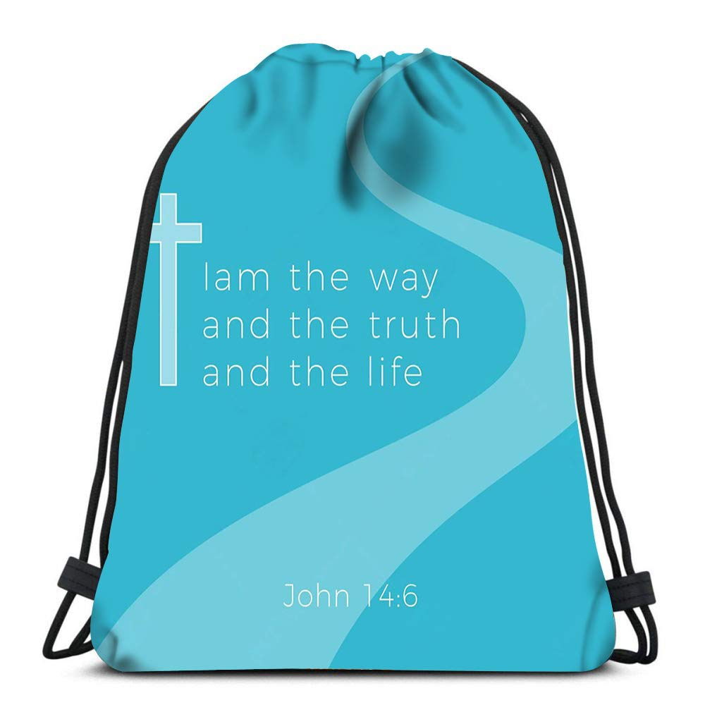 Amazon.com | Drawstring Backpack John Gospel I Am The Way ...