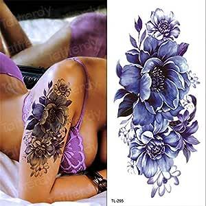 tzxdbh 3Pcs-Purple Flower Tattoo Tatuaje Impermeable Mujer Chica ...