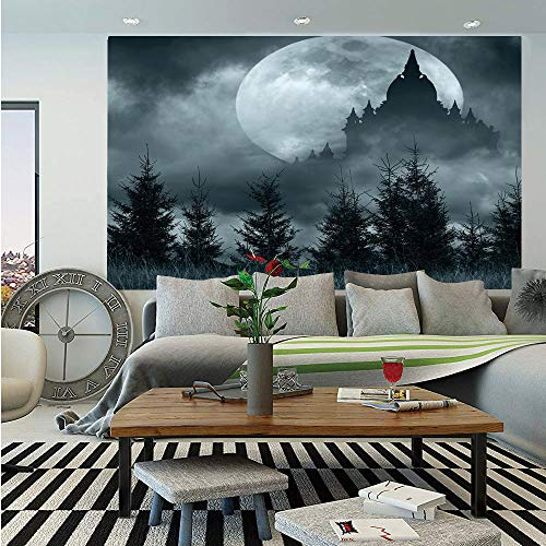 SoSung Halloween Wall Mural,Magic Castle Silhouette Over Full Moon Night Fantasy Landscape Scary Forest,Self-Adhesive Large Wallpaper for Home Decor 83x120 inches,Grey Pale Grey -