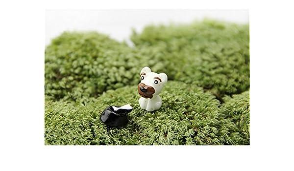 QWhing Paisaje Miniatura Animales Lindos Perro Micro Paisaje Decoración Adornos Artesanía de Jardín Decoración de DIY (Marrón + Blanco) para decoración: ...