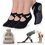 Ozaiic Non Slip Yoga Socks for Pilates Barre Ballet Dance, Anti Skid Hospital Slipper Delivery Socks with Grips for Women