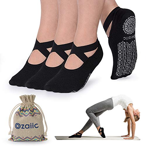 Ozaiic Non Slip Yoga Socks for Pilates Barre Ballet Dance, Anti Skid Hospital Slipper Delivery Socks with Grips for Women -