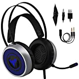 [Newest 2019] Gaming Headset for Xbox One, S, PS4, PC with LED Soft Breathing Earmuffs, Adjustable Microphone, Comfortable Mute & Volume Control, 3.5mm Adapter for Laptop, PS3, Nintendo