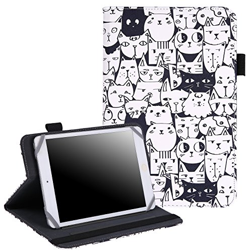 7 - 8 Inch Tablet Case - Universal Folio Cover Protective Stand for Touchscreen Tablets Including Ipad Min and many more (Thousand Cats)