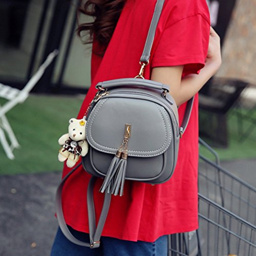 Casual Zipper For Gray Elegant Tassel Backpacks Girls Kyokim 2018 Ladies Pu Bag Women EwqISz