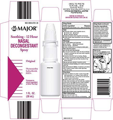 Major Nasal Decongestant Nasal Spray 12HR - Pack of 3 - Packaging May Vary