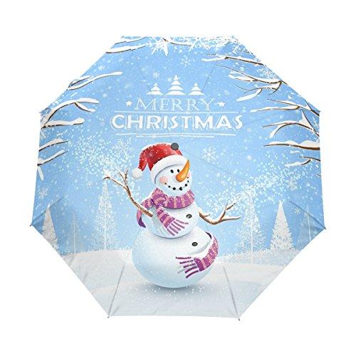 Naanle Snowman Snowflakes Santa Hat Merry Christmas Auto Open Close Foldable Umbrella For Sale