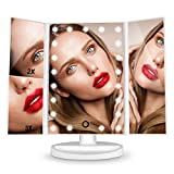 Vanity Mirror With Lights, HAMSWAN Lighted Makeup Mirror, Cosmetic Mirror, Magnifying Mirror-1X/2X/3X, Lighted Mirror with 21pcs Mirror Lights,180 Degree Rotation-White